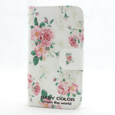 HOT classic rose flower leather flip wallet credit case cover for htc nokia lg