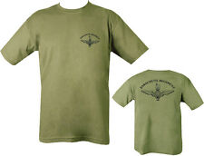 AIRBORNE Paracute Regiment T Shirt PARA OLIVE Green 100% COTTON NEW ARMY 2 SIDE