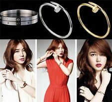 fashion style inspired design Stainless Steel Cuff Bangle Screw Nail Bracelet