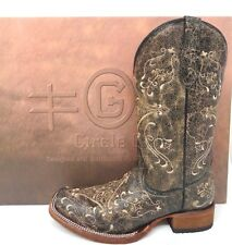 Circle G By Corral~ Ladies Brown Crackle/Bone Embroidery Square Toe Boot L5078