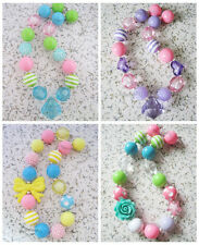 Kids Child lovely rainbow solid Beads Chunky Bubble gum Necklace~ pick style