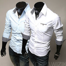 New Fashion Mens Casual Stripe Decoration Stylish Long Sleeve Slim Fit Shirts