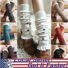 NEW Crochet Lace Trim Cotton Knit Leg Warmers Boot Socks Knee High Stockings