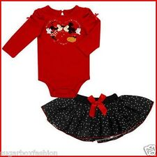 NWT Disney Girls' Mickey & Minnie Mouse Polka Dots & Seqiun 2 Piece Set 6 9 12Mo