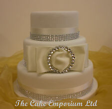 WEDDING CAKE ROUND BUCKLE – ASSORTED SATIN/DIAMANTE RIBBON CAKE TOPPER