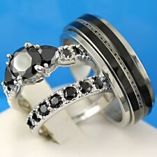 HOT! 3PCS HIS & HERS WEDDING ENGAGEMENT SET RINGS BLACK STNONE SILVER & STEEL