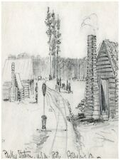 7302.Pencil sketch of parks station.log cabins in park.POSTER.art wall decor