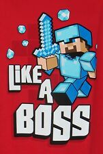 Boys Minecraft Like a Boss T-shirt XS-XL Red Officially Licensed JINX  Mojang
