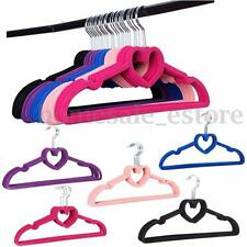 10 x Velvet Non-Slip Thin Clothes Clothing Hanger Heart Shaped Space Save Closet