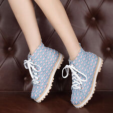 Preppy Canvas Leisure Comfort Women Girls Lace Up Low Heels Ankle Boot Plus Size