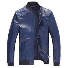 PJ New Men's Slim Fit 100% Sheep Leather Stand Collar Jacket Coat Navy Blue S~XL