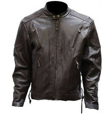 Mens Cafe Vintage Style Racer Leather Motorcycle Jacket In Retro Brown   711