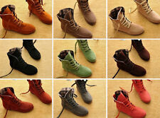 New Fashion Women Girls Lace Up Winter Boots Casual Flat Ankle shoes