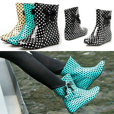 Women's Polka Dot Ankle Boots Hidden Wedge Bowknot Patent Leather Rain Boots
