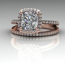 C&C Cushion Moissanite Dia Antique Floral Basket Engagement and Wedding Band Set