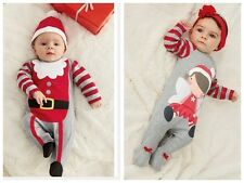 1pcs Baby Christmas cloths outfits boy girl Romper hat band set for 0-2Y R13-1