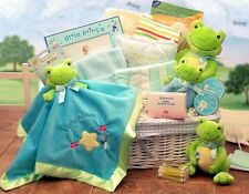 Frog Themed Baby Gift Basket for Boy or Girl - Baby Shower