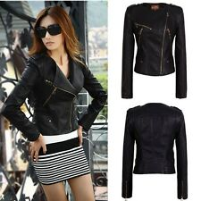 New Women's Slim Black Biker Motorcycle PU Soft Leather Zipper Jacket Coat Short