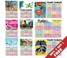TIMES TABLES OPTIONS➙ CHILDREN Maths A4 Poster Chart* 1-12 Multiplication Square