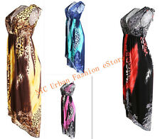 Colorful Leopard Pattern High-Low Style In/Out Door Sexy Dress Evening Sundress