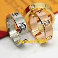 18k Gold Screw Carved Love Band  Rose Silver  Gold Titanium steel Rings With CZ