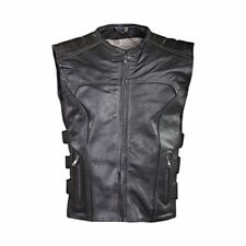 Motorcycle Harley Biker Swat Style Vest Mens Premier Grade Milled Leather Black