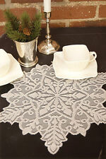 Silver Snowflake Doily by Heritage Lace, 15x13, Holiday or WInter Decor, or Gift