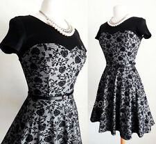 NEW Gray Black Floral Flock Classic Sweetheart Fit & Flare Skater Dress + BELT