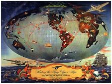 8049.Routes of the flying clipper ships.pan american air.POSTER.art wall decor