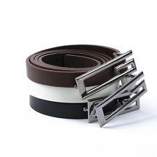 Mens Faux Leather Alloy G Shape Buckle Thin/Skinny Waist Belt Strap Waistband