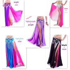 Sexy Belly Dance Costume Dance Double Color Chiffon Skirt