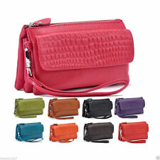Stone Pattern Genuine Real Leather Lady's Clutch Wallet Purse Small shoulder Bag