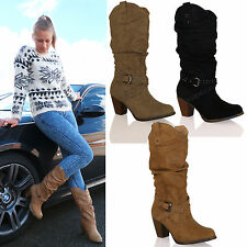 D9A Womens Mid High Heel Cowboy Western Mid Calf Boots Under Knee Ladies Shoes