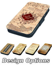 Hogwarts Marauders Map Printed Faux Leather Flip Phone Cover Case Harry Potter