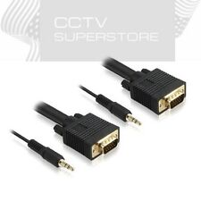 3ft 6ft 10ft 15ft 25ft 50ft SVGA SUPER VGA Male Monitor Cable 3.5mm audio Lot