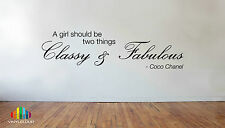 COCO CHANEL CLASSY & FABULOUS QUOTE Vinyl Wall Sticker WallArt Phrase Stencil