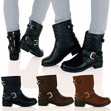 D5Z Womens Low Heel Quilted Biker Ankle Boots Back Zip Buckle Flat Ladies Shoes