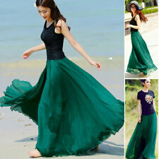Women Elegant Chiffon Elastic Waist Band Beach Long Maxi Skirts Dress Size 6-20