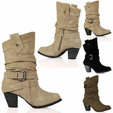 D9A Womens Mid High Heel Cowboy Ankle Boots Fashion Casual Trendy Ladies Shoes