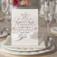 Regal Baroque Laser Cut White Wedding Invitation With Satin Bow High Quality