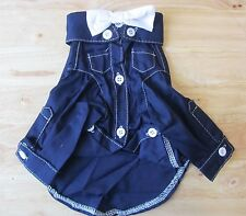 NAVY Shirt with White Bow Tie Pet Apparel Clothes size S XL for small dog ONLY
