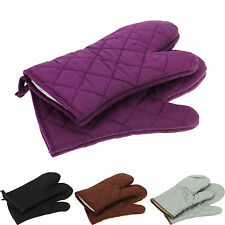 100% Cotton Thick Double Kitchen Baking Cook Insulated Padded Oven Gloves Mitt