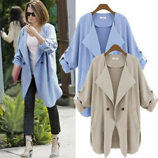 2014 Womens Fold Sleeve Coat Jacket Blazer Oversize Casual Long Outerwear Trench