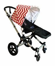 emaSema Red and White Chevron Canopy / Hood for Bugaboo Strollers