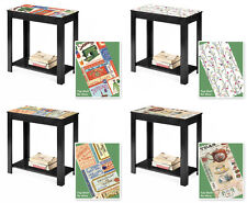 FC109 NEW LABEL POSTER THEMED BLACK WOODEN FINISH END ACCENT TABLE NIGHT STAND