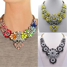 Generous Crystal Mixed Style Chain Flower Bib Big Statement Graceful Necklace