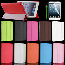 Cheap Slim PU Leather Tri-Fold Case Cover for Apple iPad mini Stylus+Screen Film