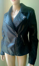 Jessica Simpson Biker Jacket Black Faux Leather Coat Size L