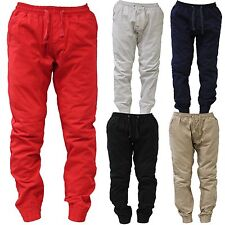 JOGGER Men Elastic Casual Waist Drop Crotch Twill Harem Trousers Sweat Pants