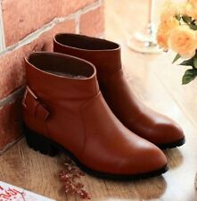 Womens Genuine Leather Buckle Strap Cuba Ankle Boots Shoes Plus Size SRY-312